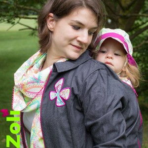 "Mid-season babywearing jacket ""Denim FLUO DOTS"""