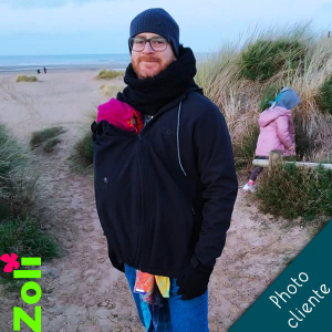 Babywearing Black Softshell jacket for dad