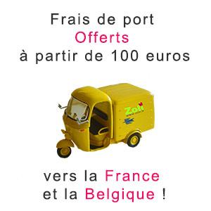 Frais de port offerts vers la France et la Belgique